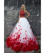 Vintage White And Red Wedding Dresses Two Pieces Sexy Bridal Gowns Custo... - $180.00