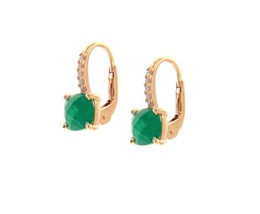 18K ROSE GOLD PENDANT EARRINGS WITH CUBIC ZIRCONIA & GREEN EMERALD CUSHION CUT image 1
