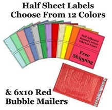 6x10 ( Red ) Poly Bubble Mailers + Half Sheet Self Adhesive Shipping Labels - $2.99+