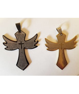 large metal stainless steel cross pendants charms angel 2 piece black go... - $4.99