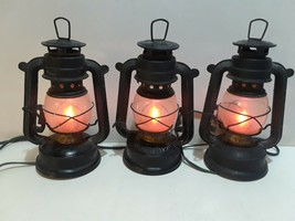 Flickering Light Electric Oil Lanterns Set of 3 Vintage Style Holiday De... - $19.95