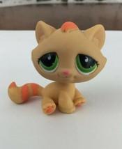 Littlest Pet Shop Cat Tabby Teardrop Eyes Authentic 706 LPS Orange Green... - $7.91