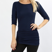 Navy Shirred Tunic Top, Navy Ruched Half Sleeve Top, Long Womens Ruched Top