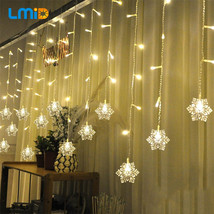 Snowflake Led Light Outdoor Xmas Curtain String Garden Lamp Christmas De... - £15.48 GBP