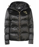 Love Moschino Embroidered Heart Logo Black SyntheticDown Hooded Jacket P... - $311.80
