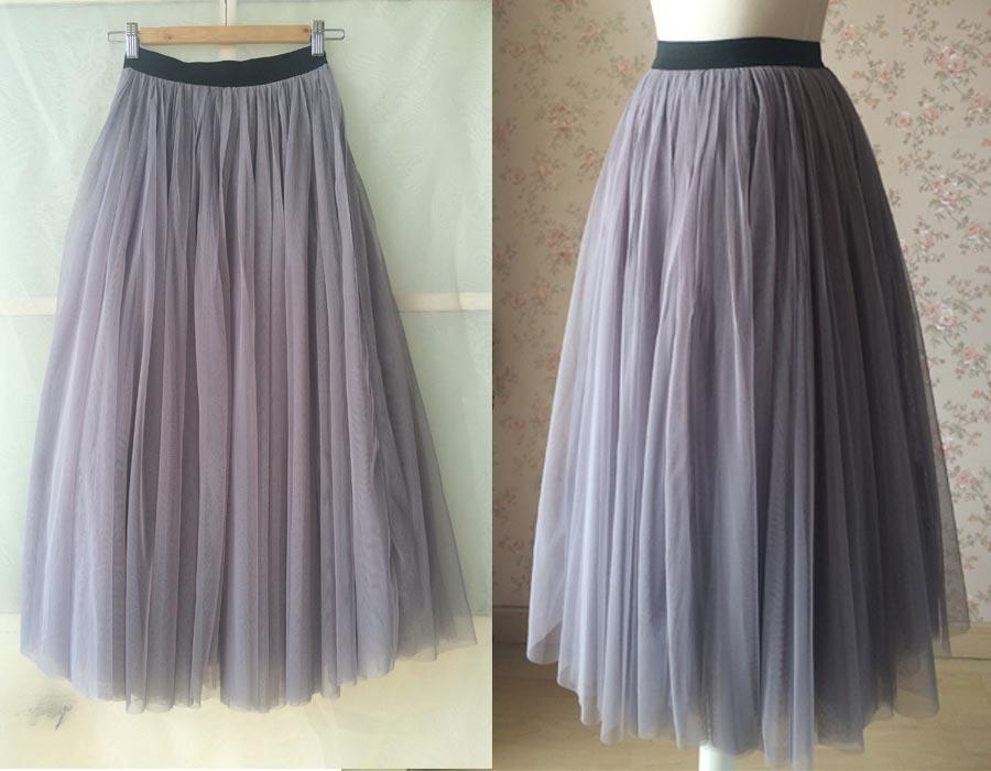 """Gray Maxi Tulle skirt Floor Length Gray Skirt - Black Waist Band- 35.4"""" long"""