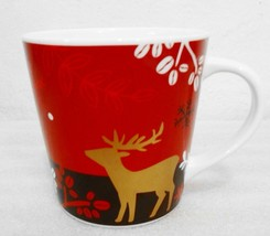 Starbucks 2009 Reindeer Coffee Beans Snow Christmas Red Bone China Mug 1... - $27.93