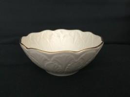Vintage Lenox Cream Beige 24k Gold Rim Encrusted Bowl Made in USA Leaf Leaves image 1