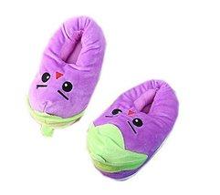 PANDA SUPERSTORE Kids Cartoon Eggplant Warm Slipper Winter Indoor Slippers, 5-12 image 1