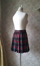 RED PLAID SKIRT Women Girl Pleated Plaid Skirt School Style Plaid Skirts NWT image 3