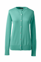 Lands End  Women's Petite LS Supima Crew Cardigan Sweater Jade New - $17.99