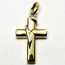 Cross Pendant White Gold & Yellow 18k 750 Crucifix Made in Italy Jewel image 5