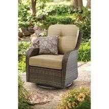 Swivel Glider Chair Cushion Seat Wicker Study Steel Frame Outdoor Patio ... - $205.97