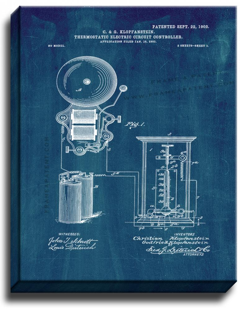 Primary image for Thermostatic Electric-circuit Controller Patent Print Midnight Blue on Canvas