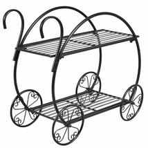 Modern Black Metal Indoor/Outdoor Cart Design Plant Holder - $84.19