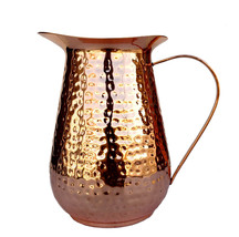 Copper Jug Heavy Gauge Pure Solid Hammered Moscow Pure Copper Pitcher Fo... - $64.89