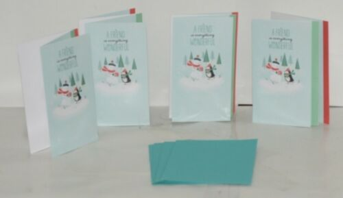 Hallmark XZH 144 4 Snowman Penguin Friends Christmas Card Quad Fold Package 4