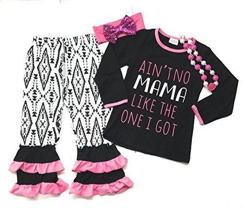 "Primary image for Cute Kids Clothing Girl's ""Ain't No Mama Like The One I Got"" Pant Outfit Boutiqu"