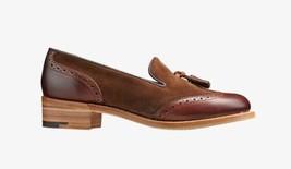 Handmade Women's  Genuine Leather & Suede Brogue Tassels Slip Ons Shoes - $144.99