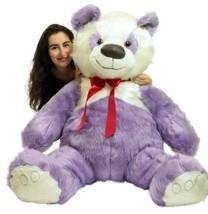 American Made Giant Stuffed Purple Panda Bear 60 Inch Soft 5 Foot Teddybear Made - $117.11