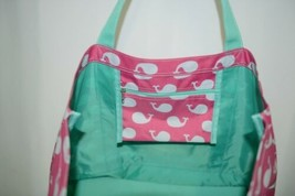 WB M730WHALES Whales Tote Bag Polyester Colors Pink White Mint image 2