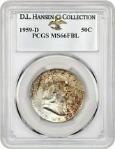 1959-D 50c PCGS MS66 FBL ex: D.L. Hansen - Franklin Half Dollar - $659.60