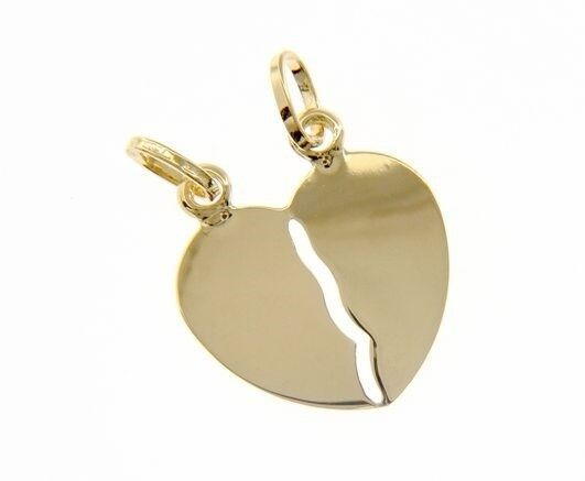 18K YELLOW GOLD DOUBLE BROKEN HEART PENDANT CHARM ENGRAVABLE 27 mm MADE IN ITALY