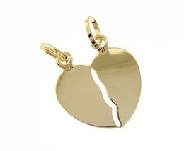 18K YELLOW GOLD DOUBLE BROKEN HEART PENDANT CHARM ENGRAVABLE 27 mm MADE IN ITALY image 1
