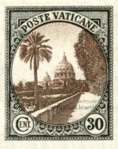"Vatican Postage Stamp–8.5x11"" Vatican Gardens & St. Peter's Dome–Catholi... - $14.00"