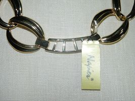 """VTG NOS NAPIER with Tags Heavy Gold Tone Chain Link Choker Necklace - 20/22"""" image 4"""