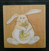 Stamps Happen Butterbean Carrots Rubber Stamp Bunny Rabbit Easter Animal - $11.23