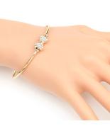UE- Trendy Gold Tone Designer Bangle Bracelet With Swarovski Style Cryst... - $19.99