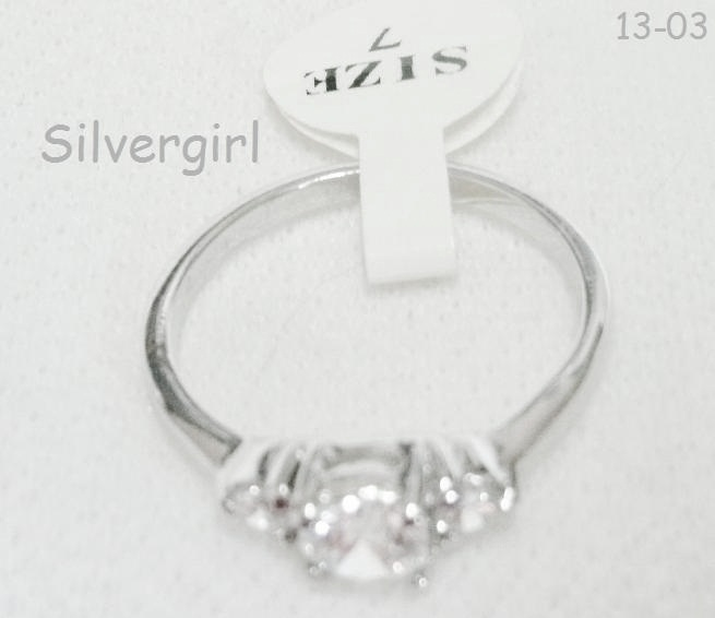 Clear White Gold 3/5 mm CZ Cluster Ring Size 7