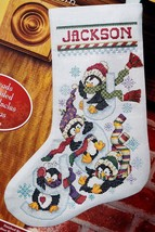 Janlynn Penguin Joy Sledding Snow Christmas Cross Stitch Stocking Kit 080-0477 - $47.95