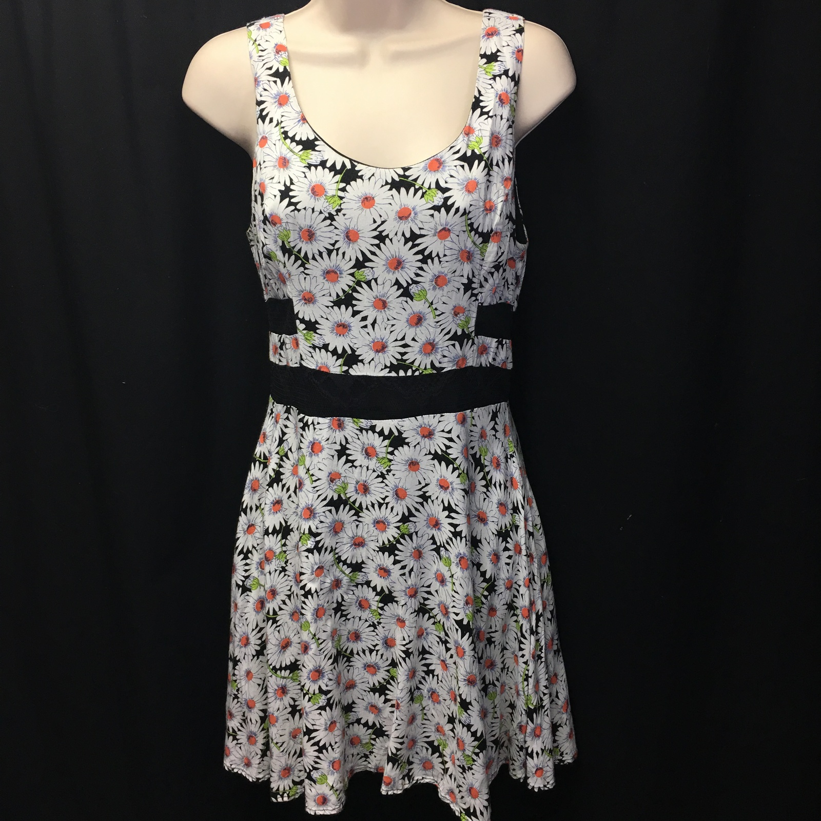 LUSH Dress Floral Print Lace See Through Stomach Size Medium