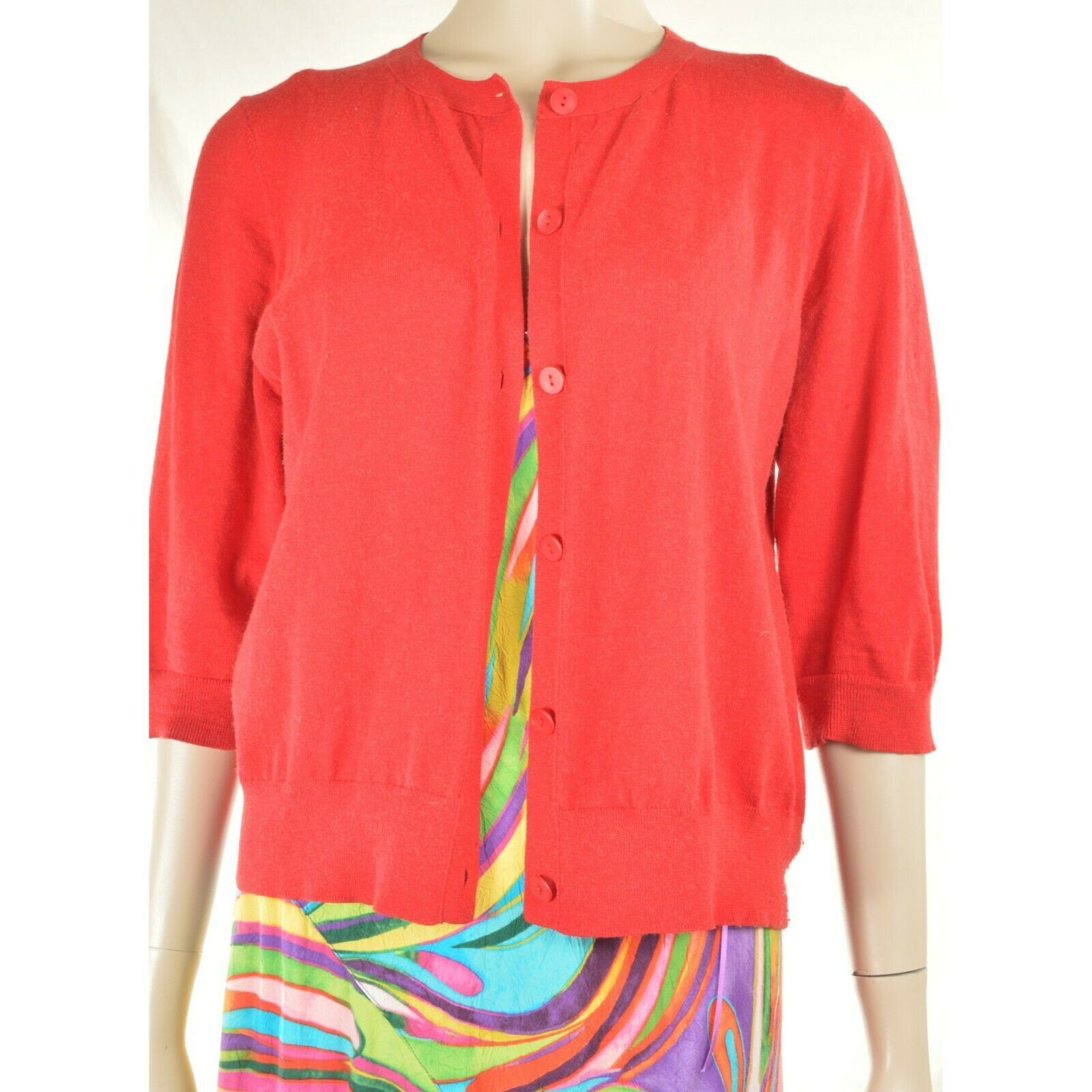 Eileen Fisher sweater M red cardigan 3/4 sleeves organic cotton cashmere blend