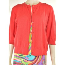 Eileen Fisher sweater M red cardigan 3/4 sleeves organic cotton cashmere blend image 1