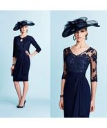2019 Newly Navy Blue Chiffon V-Neck Short Mother Of the Bride Dress Lace... - $119.88