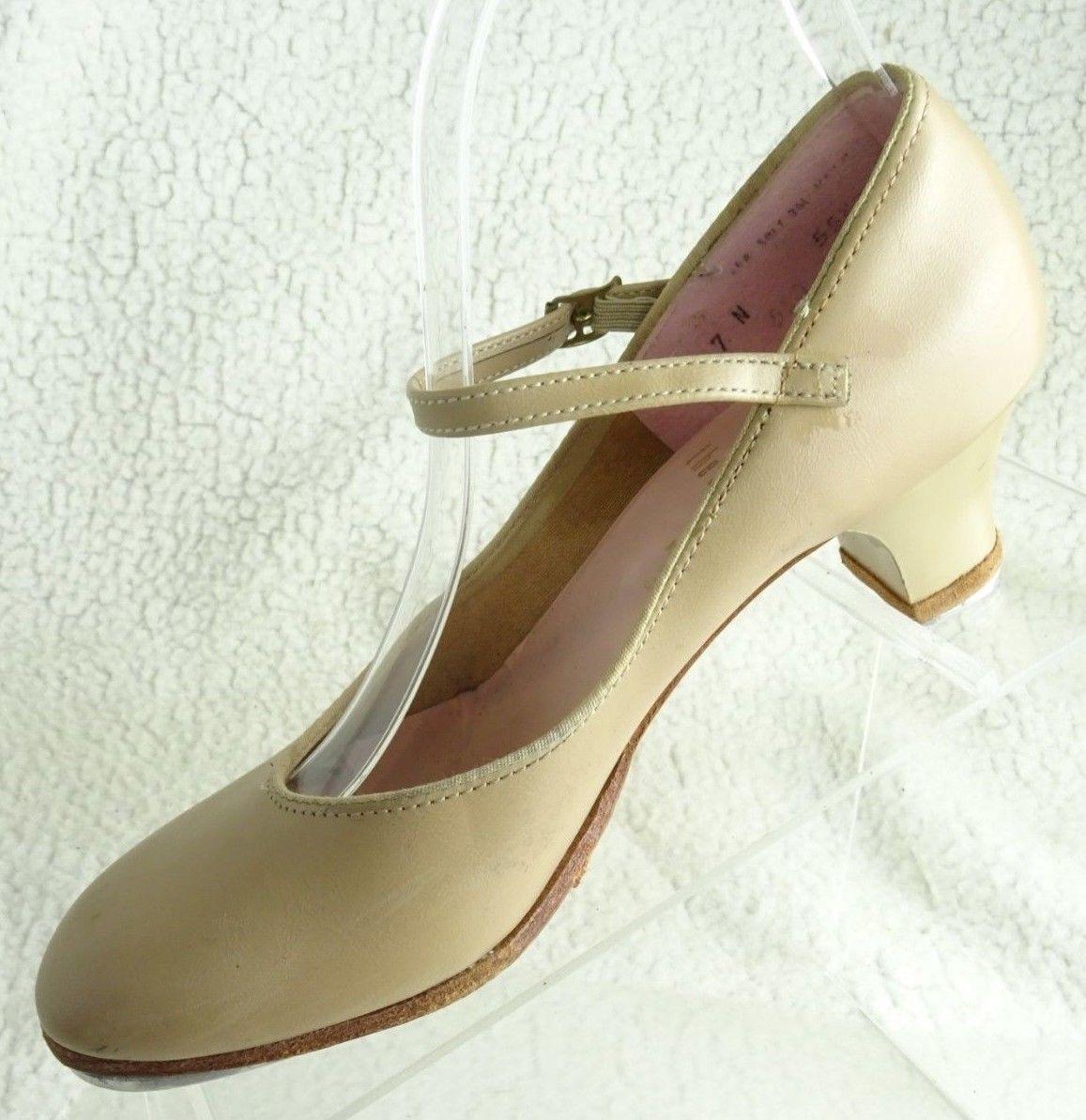 Capezio  TeleTone Tan Leather Buckle The Dance Maker Women's  7N Tap Shoes