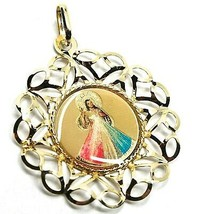 PENDANT MEDAL, YELLOW GOLD 750 18K, FRAME FLOWER-SHAPED, Jesus MERCIFUL image 2