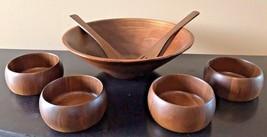 Vintage Heirloom Solid Walnut Ware Wood Salad Bowl Serving Set Utensils ... - $34.95
