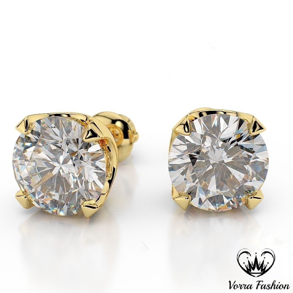 Primary image for Round Cut White CZ Yellow Gold Plated 925 Silver Women's Solitaire Stud Earrings