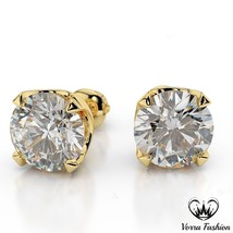 Round Cut White CZ Yellow Gold Plated 925 Silver Women's Solitaire Stud ... - $37.99