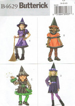 Easy Witch Costumes Girls size 4-6 Butterick 4629 Sewing Pattern - $6.92