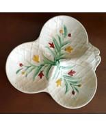 WADE ENGLAND Vintage THREE PART DIVIDED DISH Floral BASKET WEAVE  - $29.69