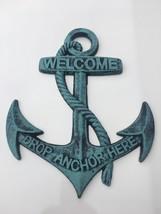 1 Welcome Anchor Cast Iron Boat Ship Ocean Beach Nautical Wall Decor Plaque - $17.90