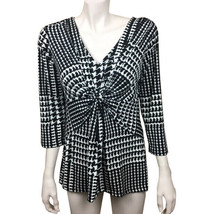Womens Ellen Tracy Large Black Whie Geometric Print Pull On Blouse Stret... - $12.86
