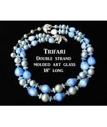 SOLD Vintage double stranded signed trifari necklace molded blue art gla... - $35.00