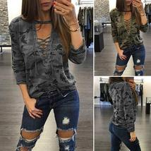 THLOVES  Women's Fashion Straps Low-Cut Print Pullover Long Sleeved Camo T-shirt