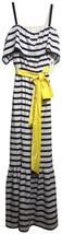 $178 Eliza J Off the Shoulder Maxi Dress 8 Medium Navy Ivory Stripe Yellow Sash - $98.01